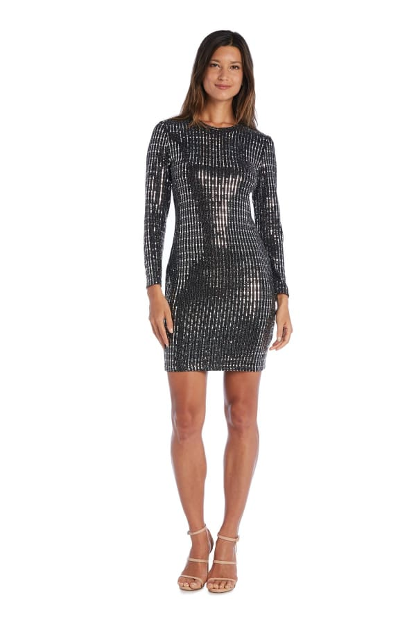Morgan & Co. Long Sleeve Bodycon Sequin Mini Dress