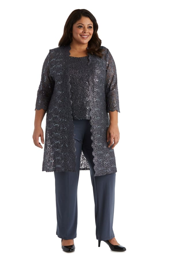 Three-Piece Pant Set with Metallic Lace and Long-Line Jacket - Plus - coal - Front