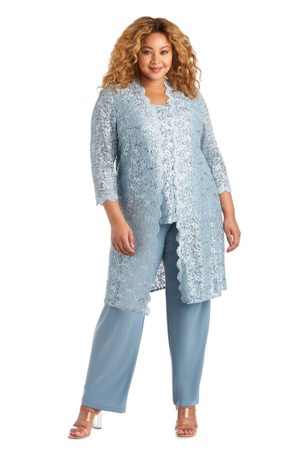 Three-Piece Pant Set with Metallic Lace and Long-Line Jacket - Plus - Slate - Front