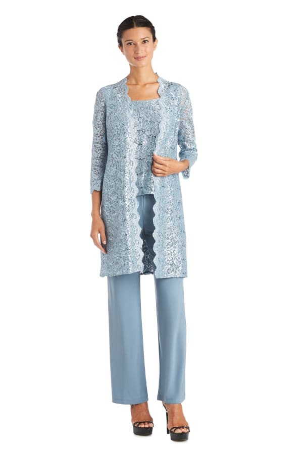 Three-piece Pant Set with Metallic Lace and Long-Line Jacket - Petite - Slate - Front