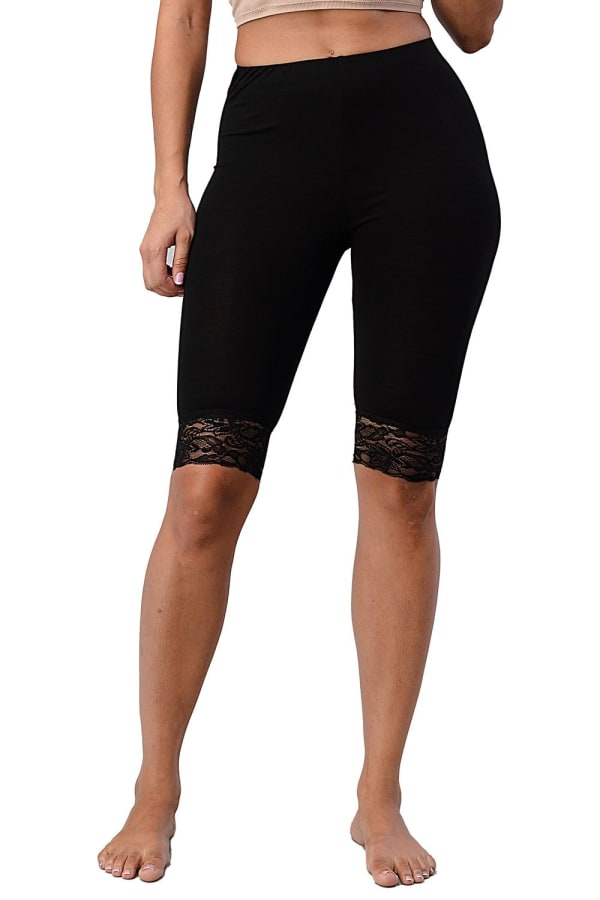 Lace Hem Biker Shorts - Black - Front