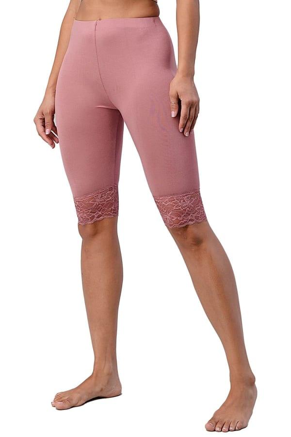 Lace Hem Biker Shorts - Mauve - Front