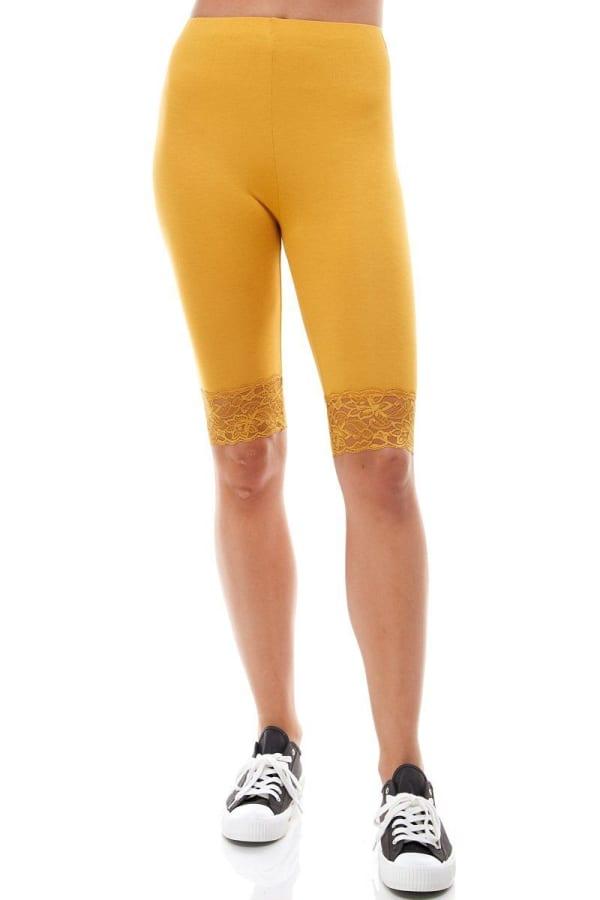 Lace Hem Biker Shorts - Mustard - Front