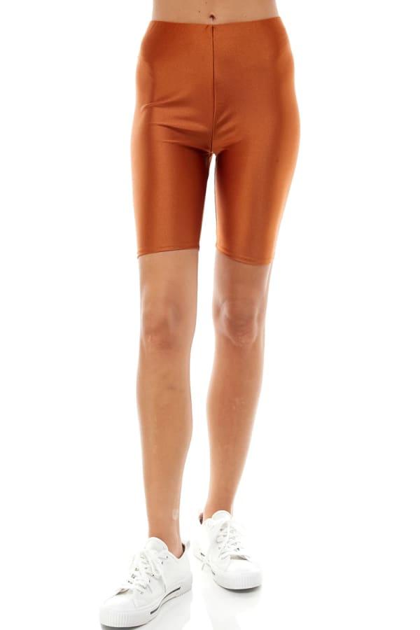 Super Stretch Comfy Yoga Fabric Biker Short - Rust - Front
