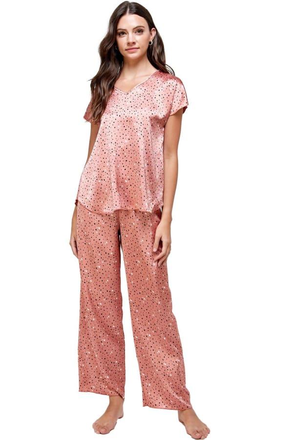 Satin Sleep Wear Dot Printed Pajama Set