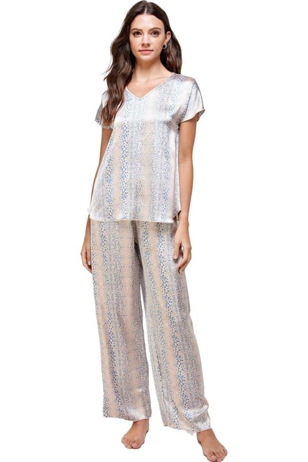 Satin Sleep Wear Dot Printed Pajama Set - Blue - Front