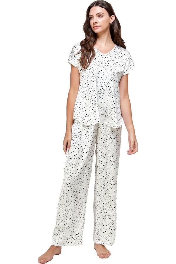 Satin Sleep Wear Dot Printed Pajama Set - White - Front
