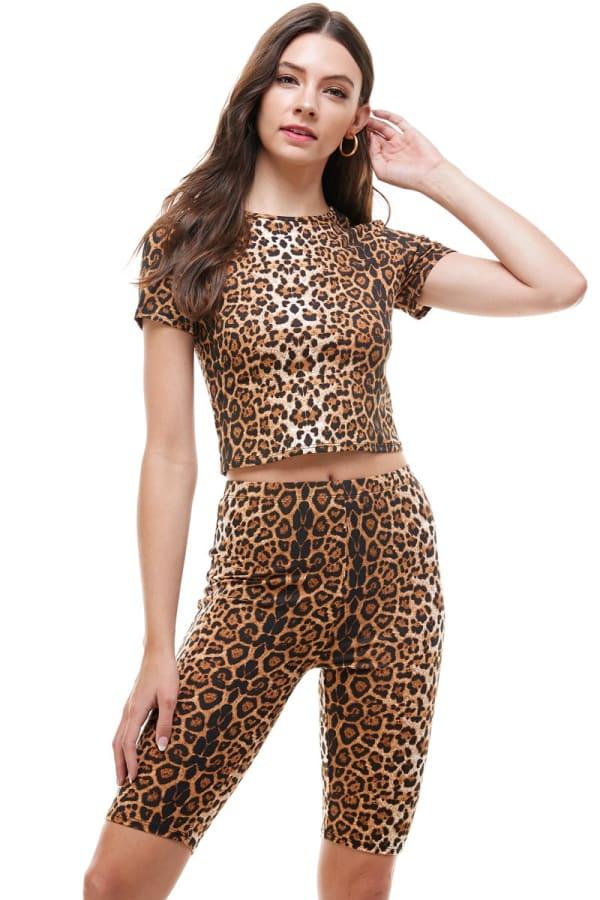 Leopard Biker Short And Top Set