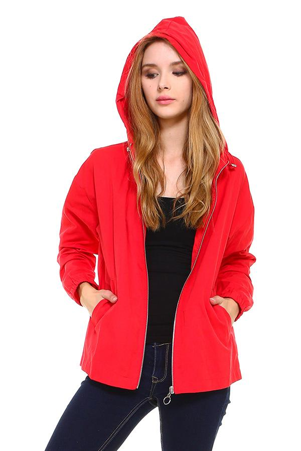 Zip Up Hooded Windbreaker Jacket - Red - Front