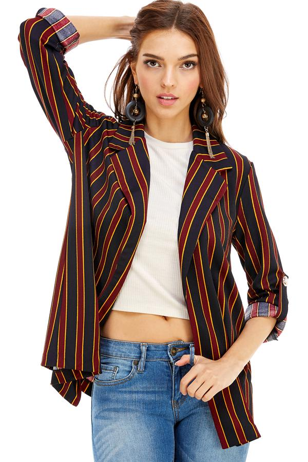 Stripe Easy Longline Blazer - Black / Burgundy - Front