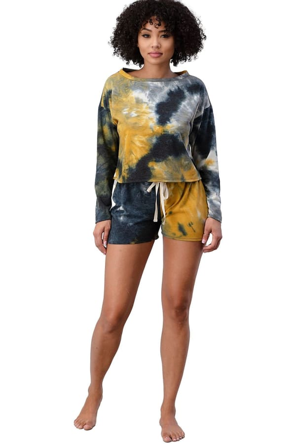 Tie Dye Shorts And Sweatshirt Set - Black / Yellow - Front