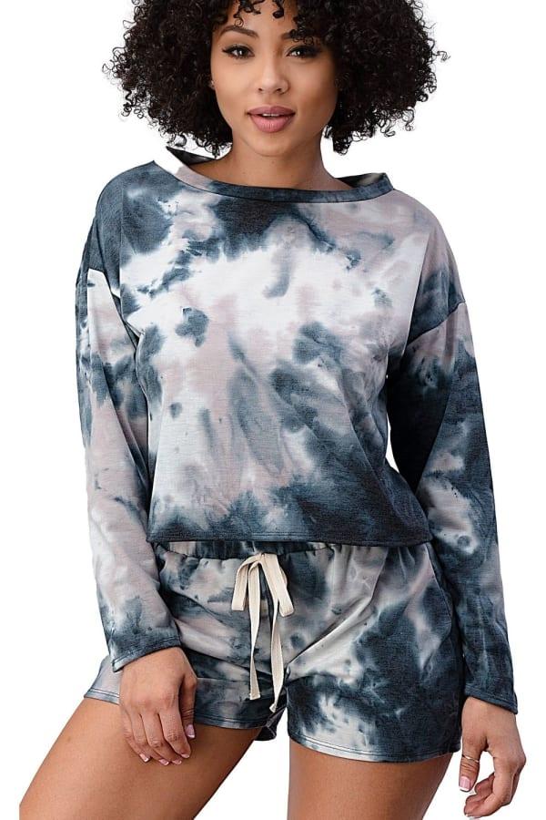 Tie Dye Shorts And Sweatshirt Set