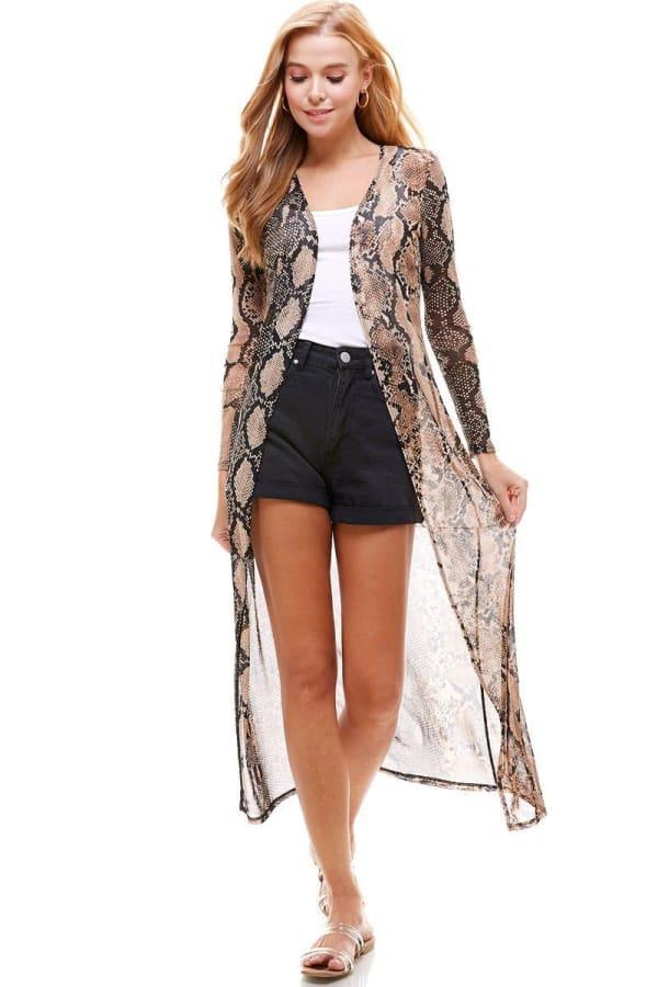 Mesh Long Sleeve Snake Duster Gown