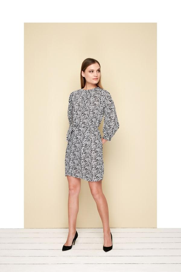 Bliss Mini Dress  - Plus - Leo Black - Front