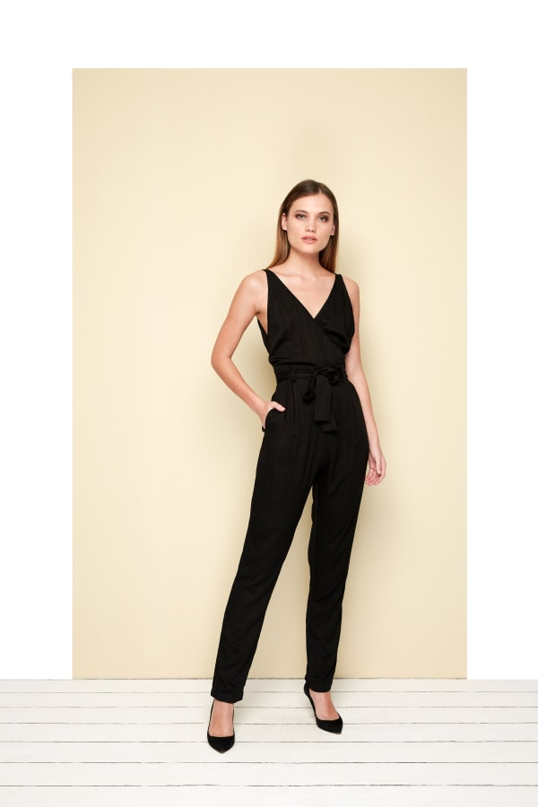 Calipso V-neckline Jumpsuit - Black - Front