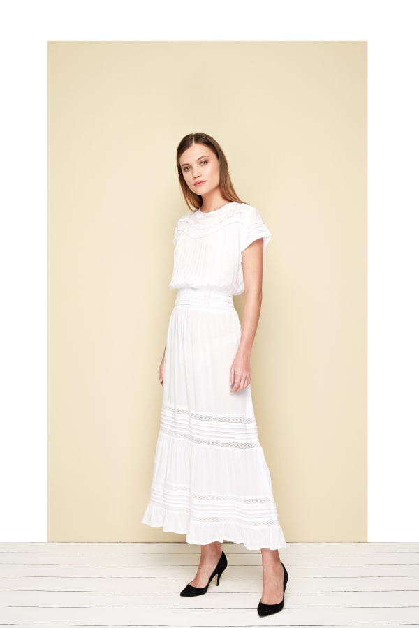 Ankle length Lio Dress - Plus - White - Front