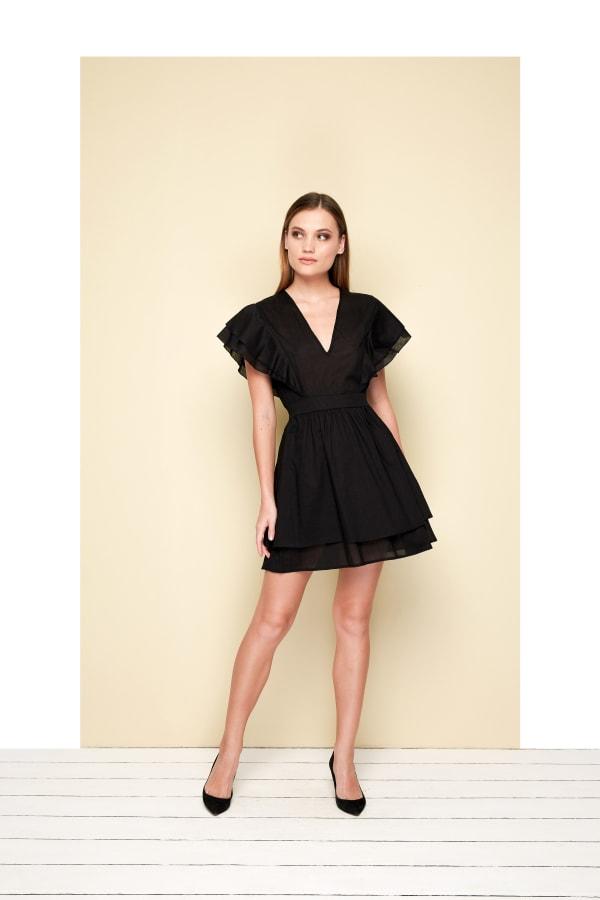 Organza Mini Dress - Black - Front