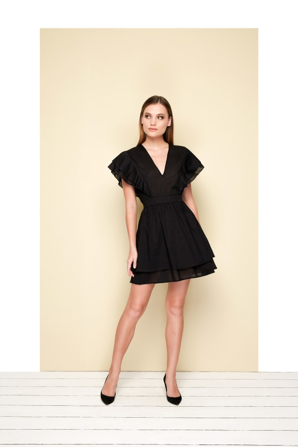Organza Mini Dress- Plus - Black - Front