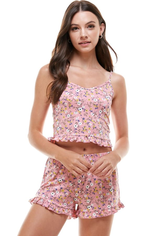Floral Ditsy & Star Blushed Camisole Top & Short With Ruffle Lounge Set