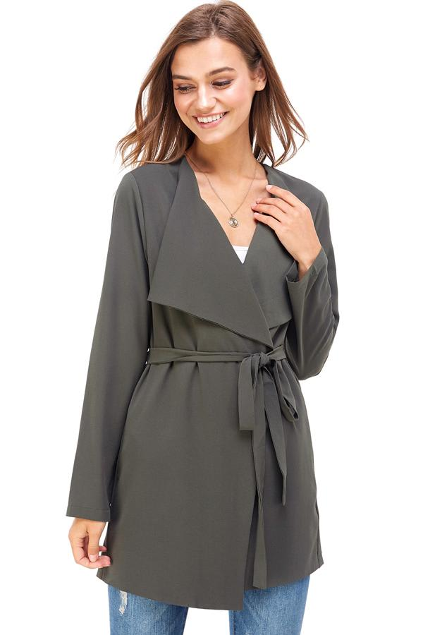 Flowy Easy Trench Jacket - Olive - Front
