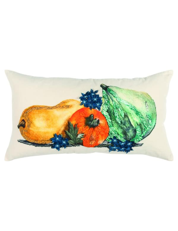 """Gourds Embroidered 20""""x20""""Multicolor Cotton Poly Filled Pillow - Gold - Front"""