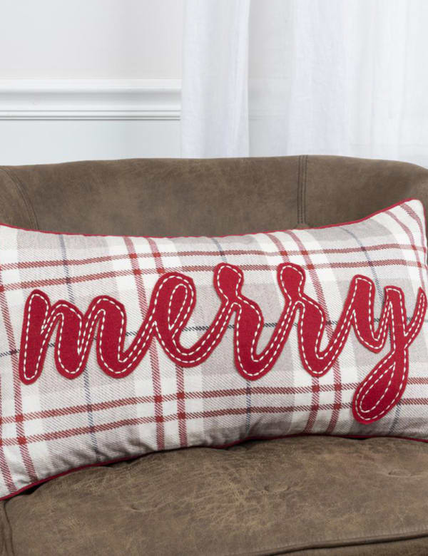 """""""Merry"""" Word 14""""x26"""" Khaki/Red Cotton Poly Filled Pillow - Brown - Front"""