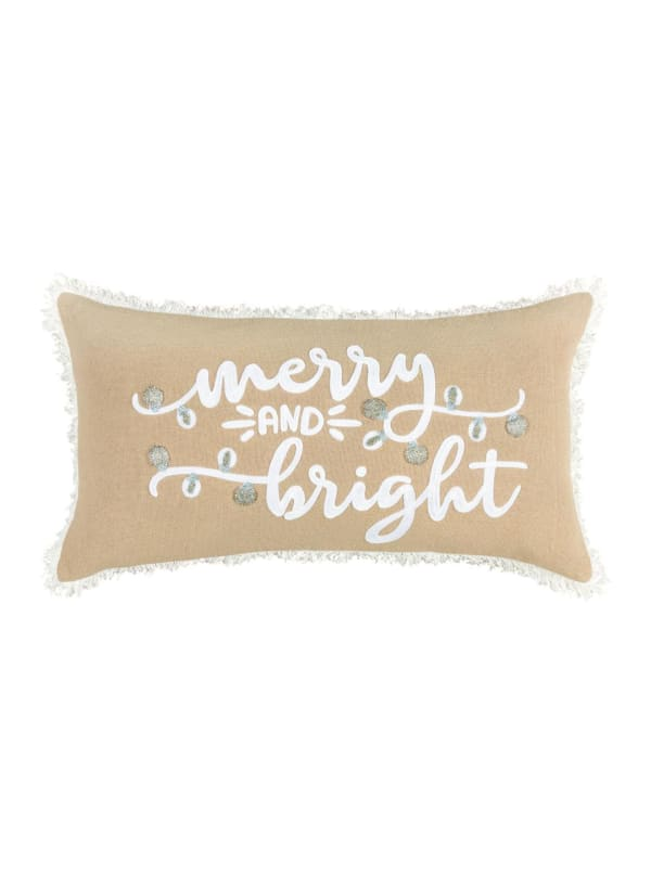 """Christmas Merry and Bright 14""""x26"""" Tan Cotton Pillow Cover - Brown - Front"""