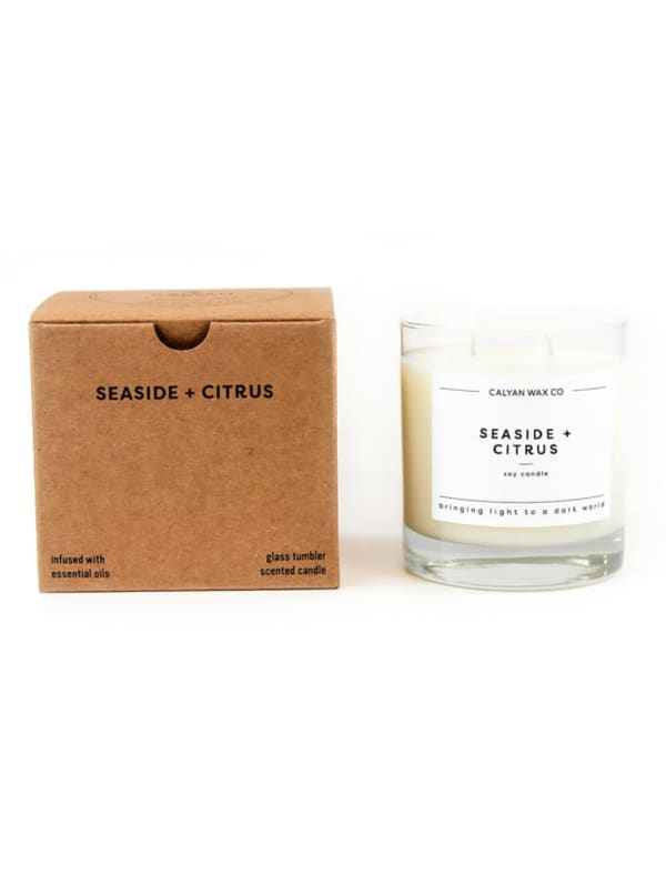 Seaside and Citrus Glass Tumbler - Soy Wax Candle 8.25 oz.