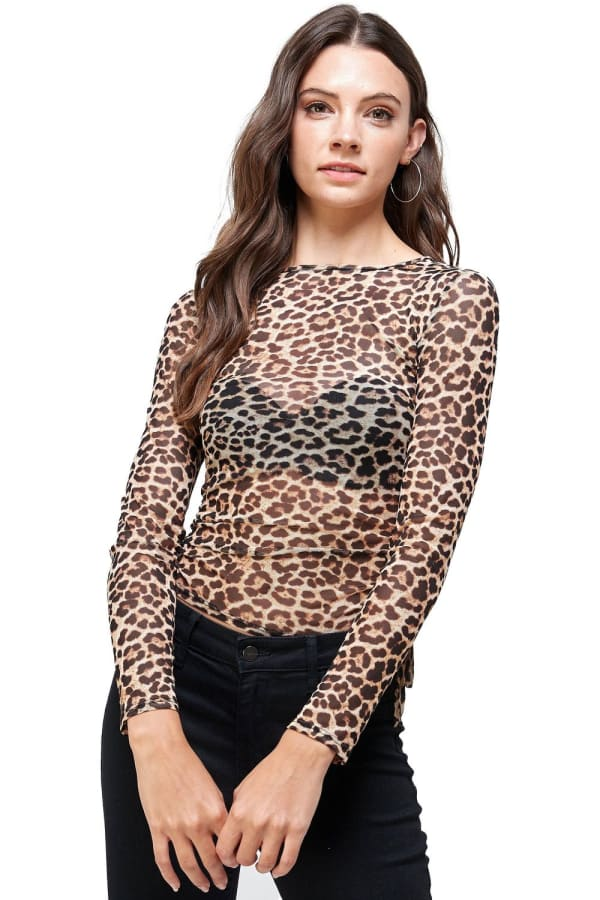 Leopard Mesh Side Ruched Top