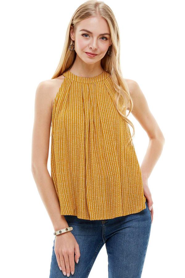 Small Pattern Tie Neck Halter Top - Mustard - Front