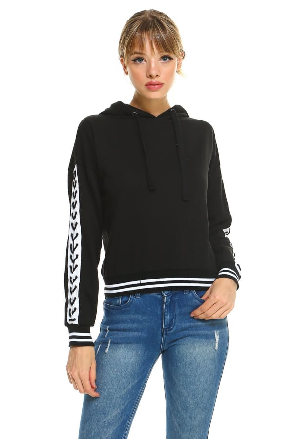 Fleece Lace Up Detail Sleeve Hooded Top - Black - Front