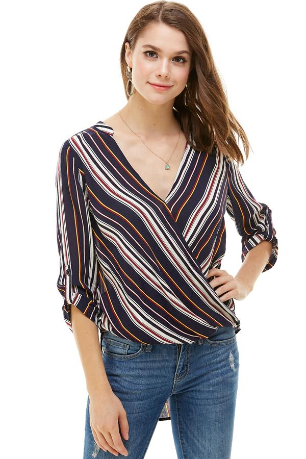 Stripe Popover Surplice Hi-Low Shirt - Denim - Front