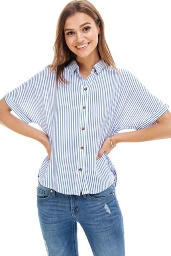 Stripes Pattern Shirt - Ivory / Blue Stripes - Front