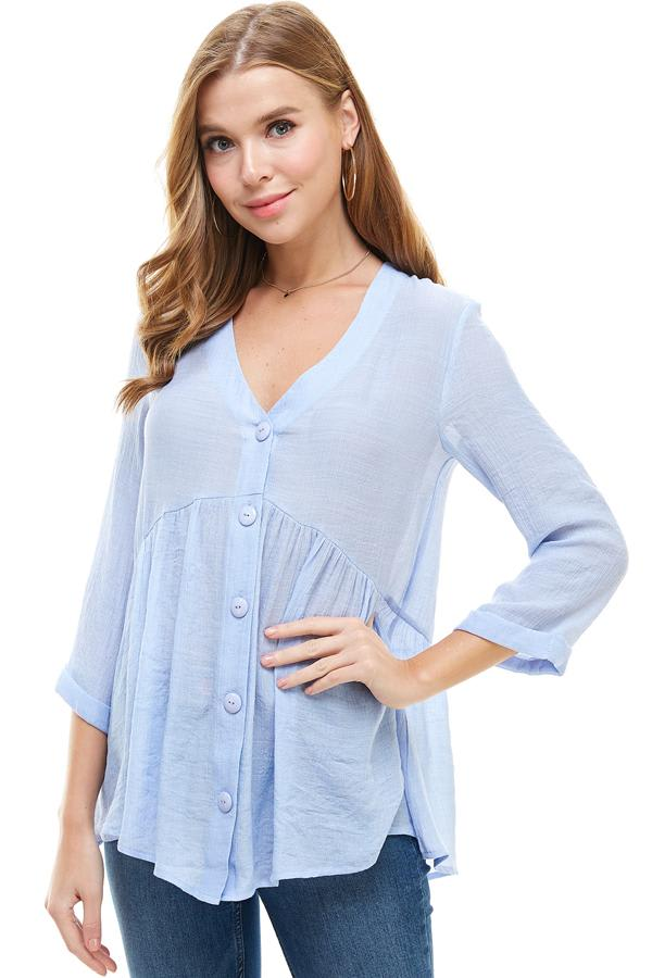 Gauze Button Front Tunic Top - Blue - Front