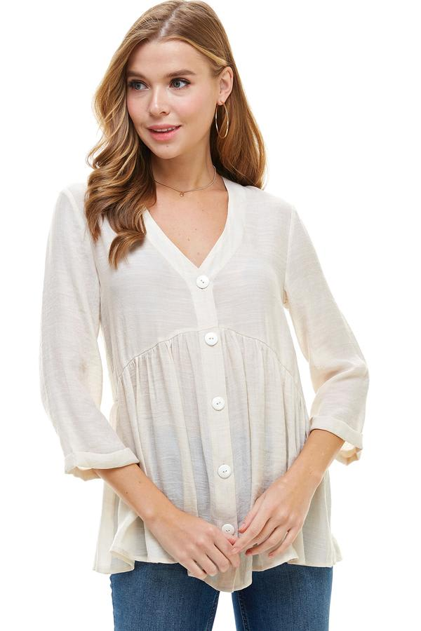 Gauze Button Front Tunic Top - Taupe - Front
