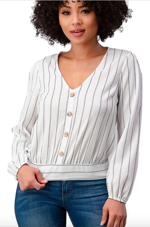Button Detail Stripe Blouse - White - Front