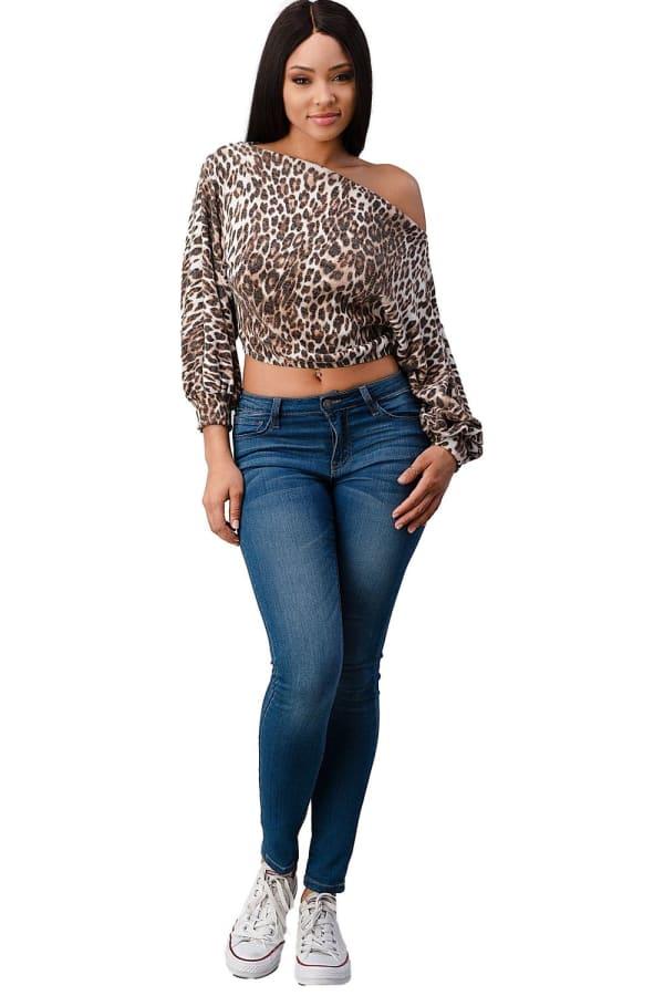 Leopard Cozy Knit Off The Shoulder Top - Brown - Front