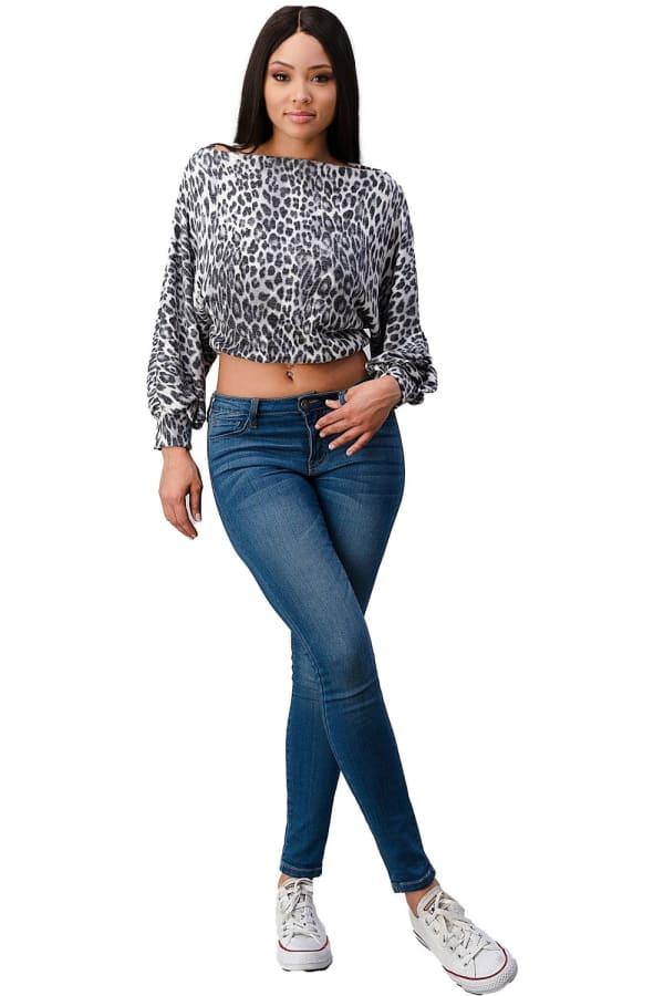 Leopard Cozy Knit Off The Shoulder Top - Grey - Front