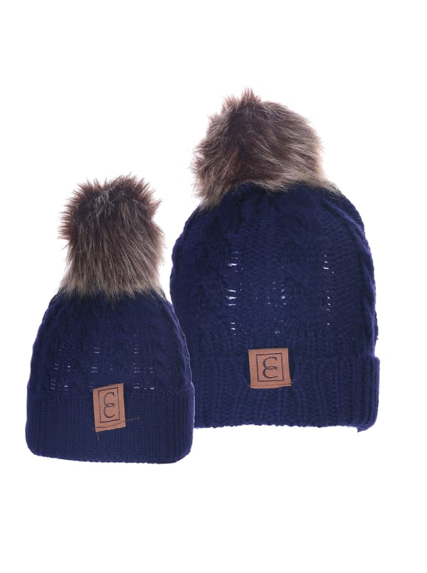 CC Chic MOM & ME Pom Beanies - Navy Blue - Front