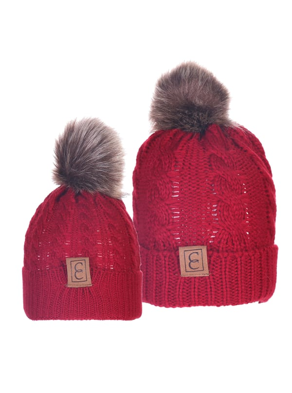 CC Chic MOM & ME Pom Beanies - Burgundy - Front