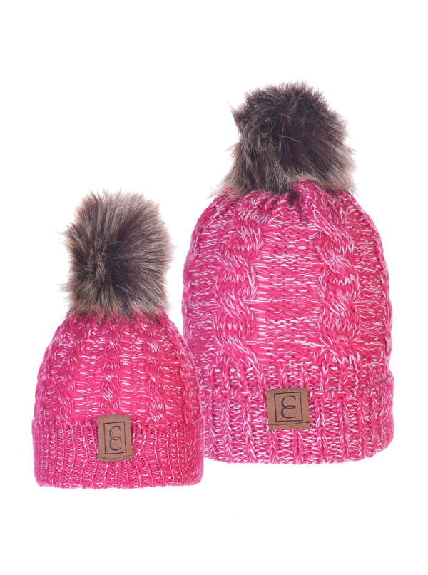 CC Chic MOM & ME Pom Beanies - Pink / White - Front