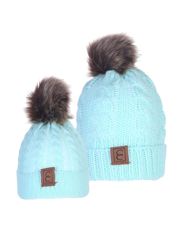 CC Chic MOM & ME Pom Beanies - Turquoise - Front