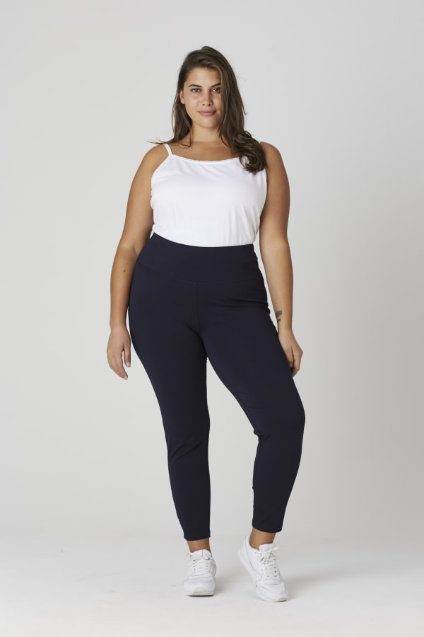 Tummy Control Leggings - Plus - Navy - Front