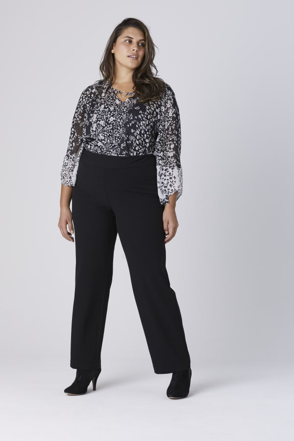 Roz & Ali Secret Agent Tummy Control Pull On Pants - Average Length-Plus -Black - Front