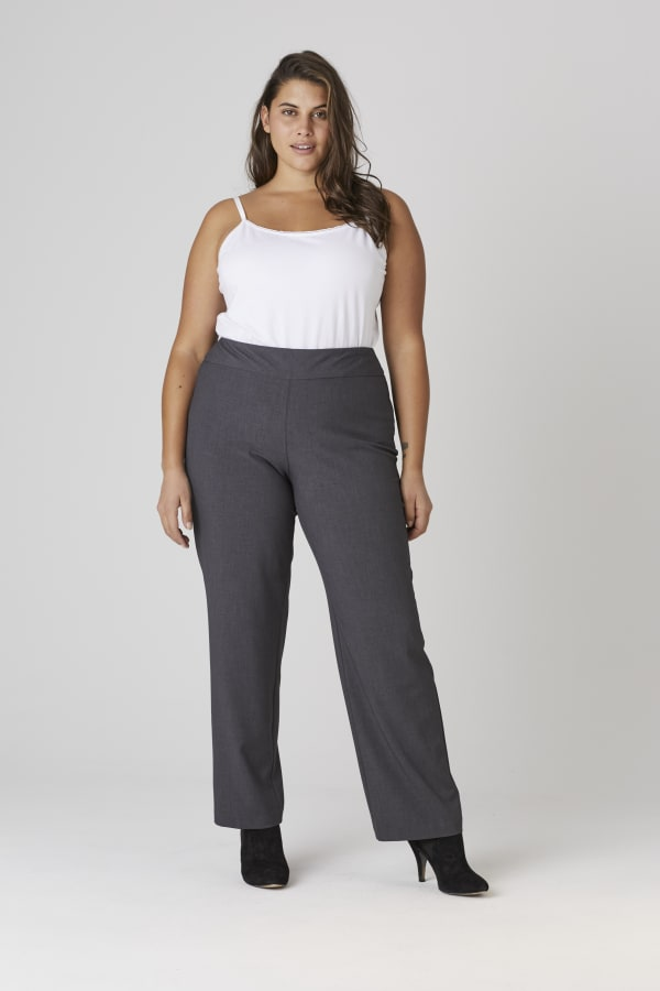 Roz & Ali Secret Agent Tummy Control Pull On Pants - Average Length-Plus - grey - Front