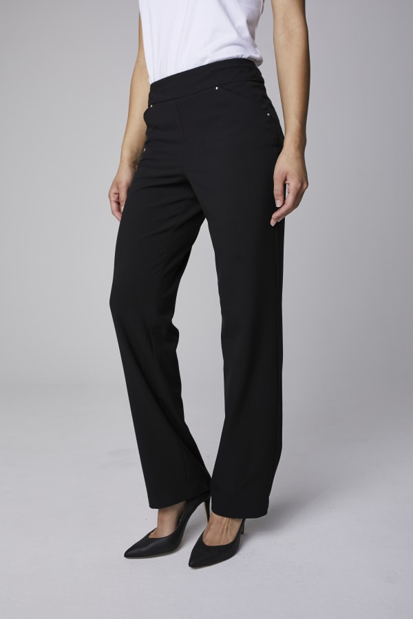 Roz & Ali Secret Agent Tummy Control Pants Cateye Rivets - Average Length - Black - Front