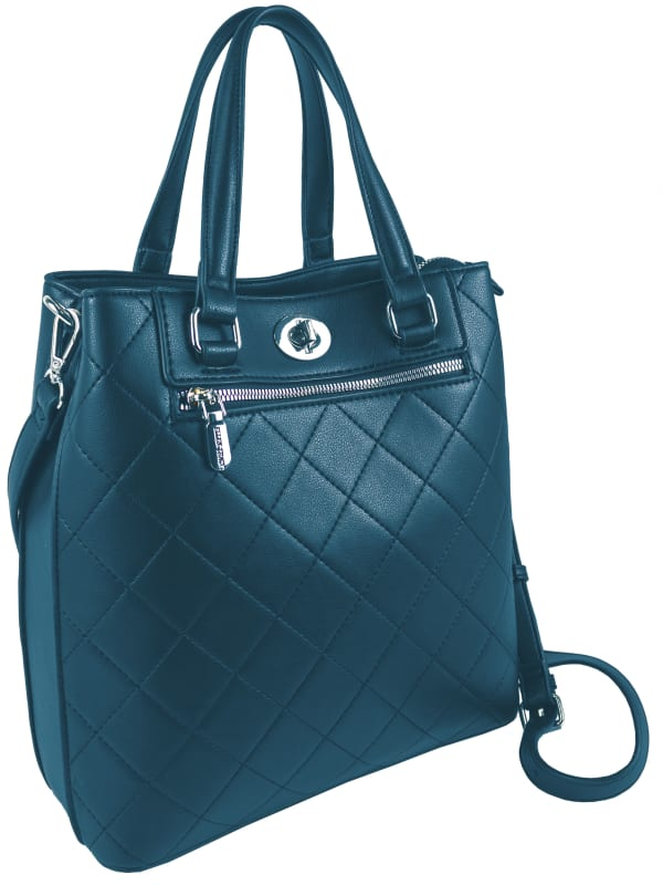 Ellen Tracy Smooth PU Quilted Double Handle Satchel with Crossbody - Teal - Front