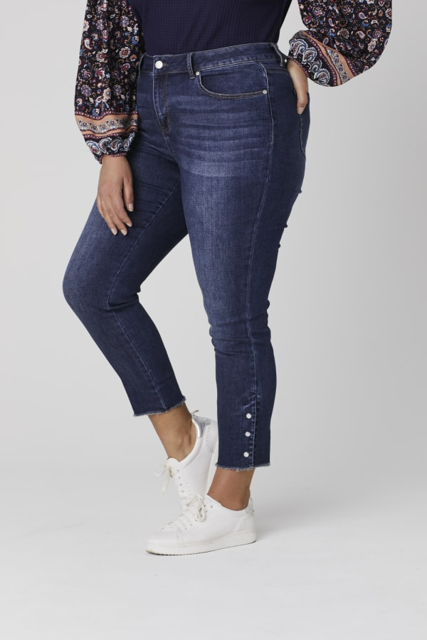 Westport Signature 5 Pocket Skinny Ankle Jean With Snap Button At Ankle - Plus