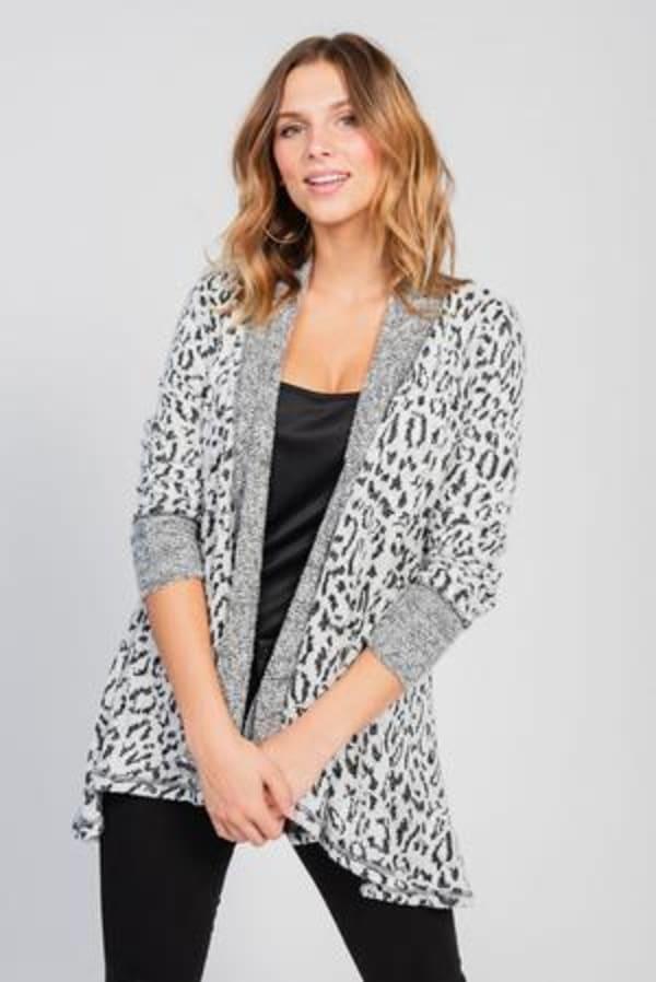 Leopard Cardigan with Reverse Collar