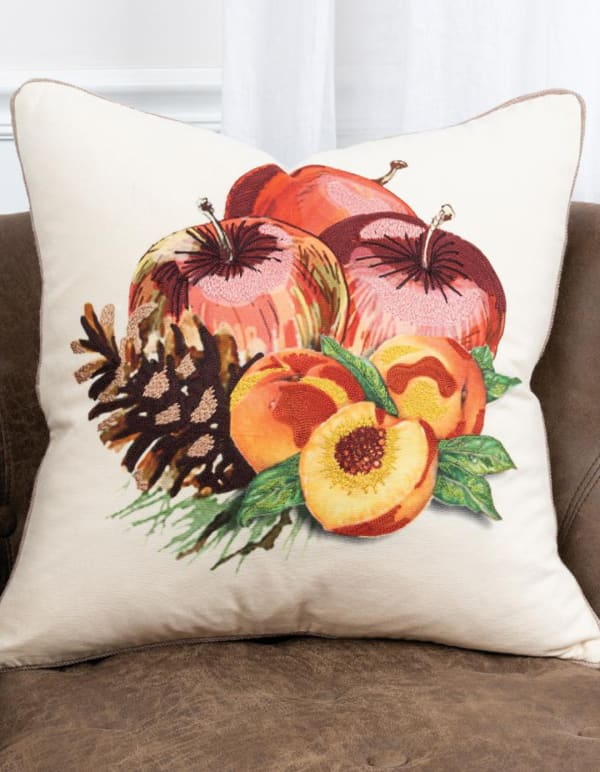 """Fruit and Pinecones 20""""x20"""" Multi Color Cotton Poly Filled Pillow - Red - Front"""